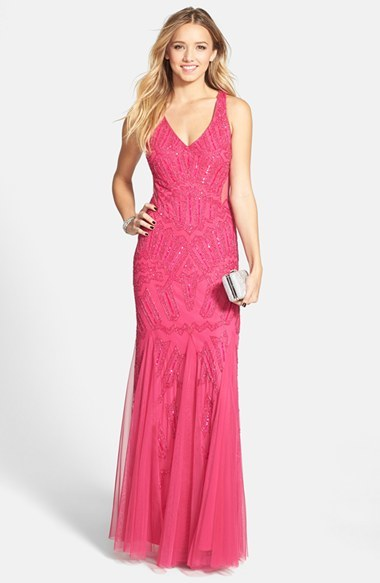 Adrianna Papell Beaded Mesh Inset Gown by Adrianna Papell