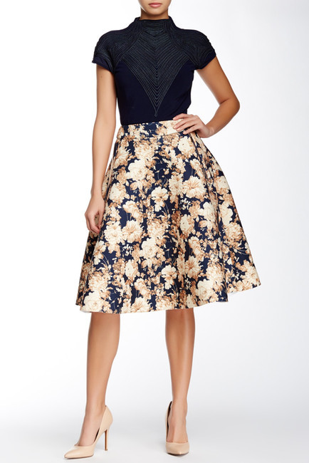 Gracia Floral Scuba Flared Skirt by Gracia